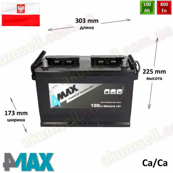 4MAX 100Ah R+ 800A (ASIA)