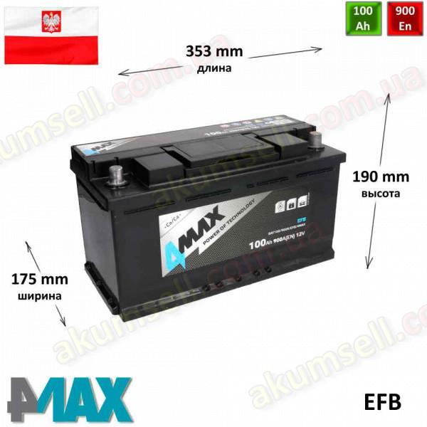 4MAX 100Ah R+ 900A EFB