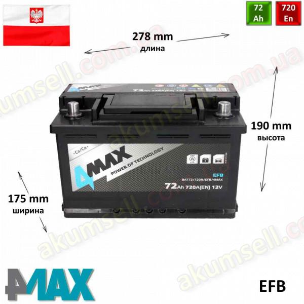 4MAX START-STOP 72Ah R+ 720A EFB