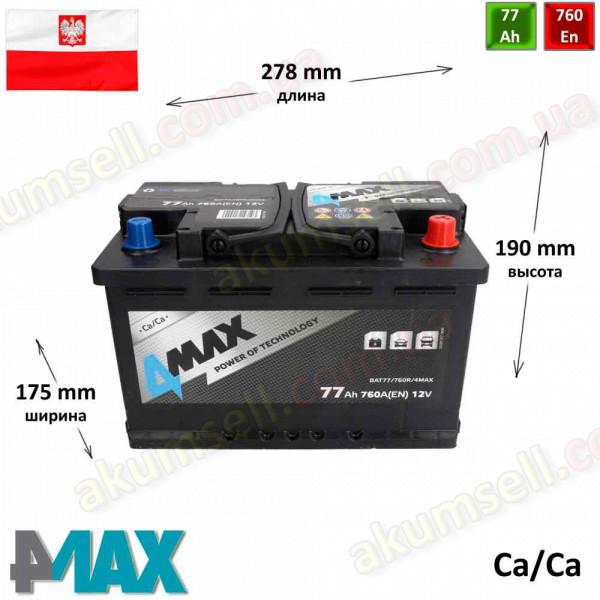 4MAX 77Ah R+ 760A