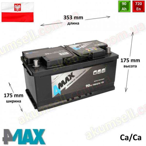 4MAX 90Ah R+ 720A (низкий)