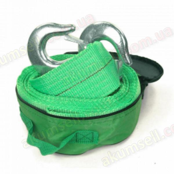 Трос буксировочный 7т, лента 5м, С крюк, зеленый
