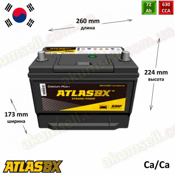 AtlasBX 72Ah R+ 630A (Asia)