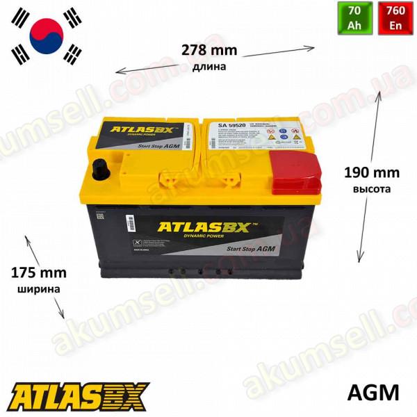 AtlasBX START-STOP 70Ah R+ 760A AGM
