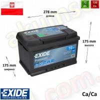 EXIDE Premium 72Ah R+ 720A (низкий)