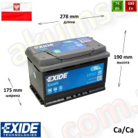 EXIDE Excell 74Ah R+ 680A