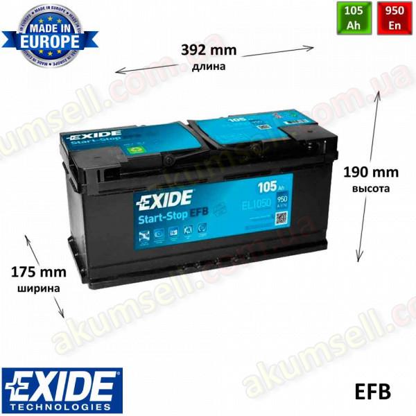 EXIDE START-STOP 105Ah R+ 950A EFB