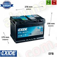 EXIDE START-STOP 70Ah R+ 760A EFB