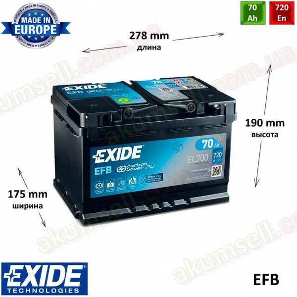 EXIDE START-STOP 70Ah R+ 720A EFB