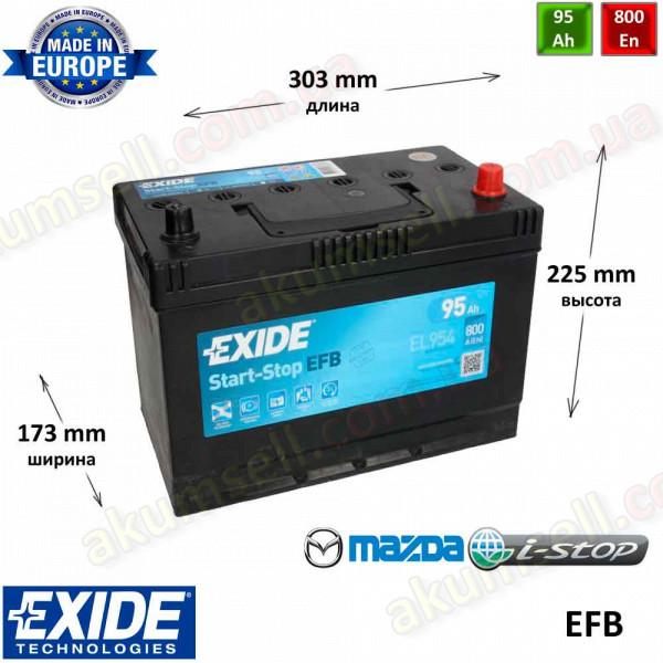 EXIDE START-STOP 95Ah R+ 800A (ASIA) EFB