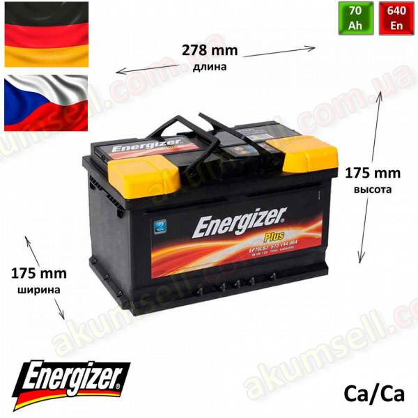 ENERGIZER Plus 70Ah R+ 640A (низкий)