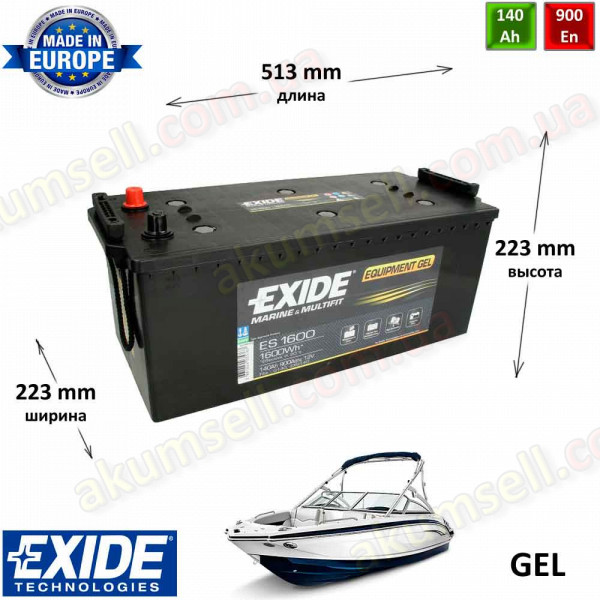 EXIDE Marine 140Ah L+ 900A EQUIPMENT GEL (1600Wh)