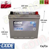 EXIDE Premium 45Ah R+ 390A (ASIA JIS тонкие клеммы)