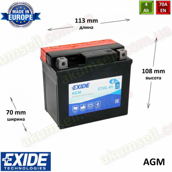 EXIDE 4Ah R+ 70A (AGM)