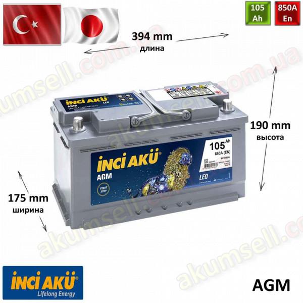 INCI AKU START-STOP 105Ah R+ 850A AGM