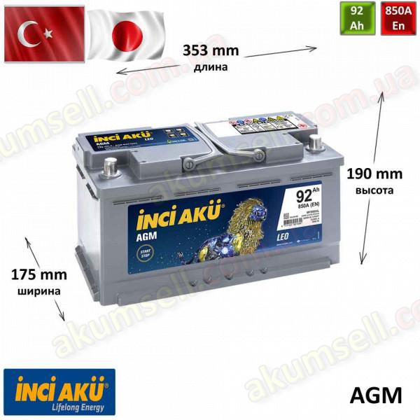 INCI AKU START-STOP 92Ah R+ 850A AGM