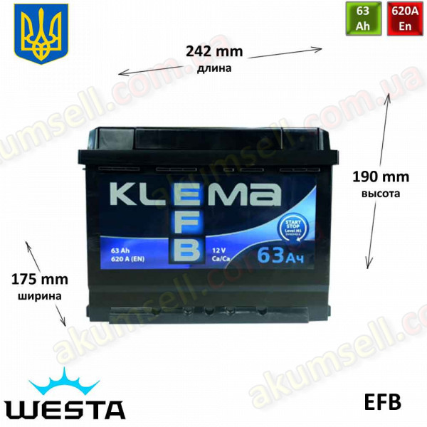 KLEMA START-STOP 63Ah R+ 620A EFB