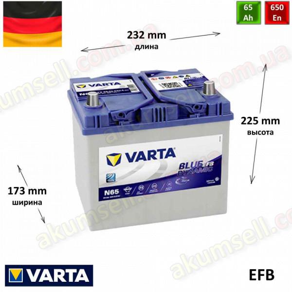 VARTA START-STOP Blue (N65) 65Ah R+ 650A (ASIA) EFB