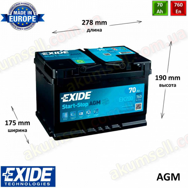 EXIDE START-STOP 70Ah R+ 760A AGM