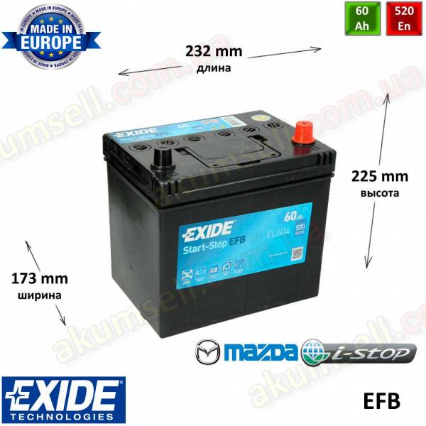 EXIDE START-STOP 60Ah R+ 520A (ASIA) EFB