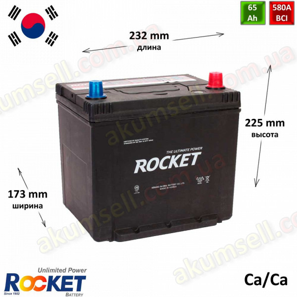 ROCKET 65Ah R+ 580A (ASIA)