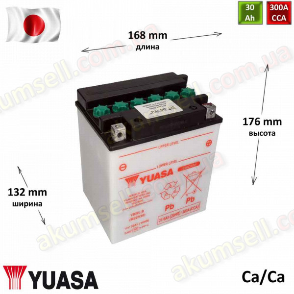 YUASA 30Ah R+ 300A (кислотный)