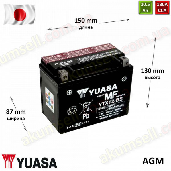 YUASA 10Ah L+ 180A (AGM)