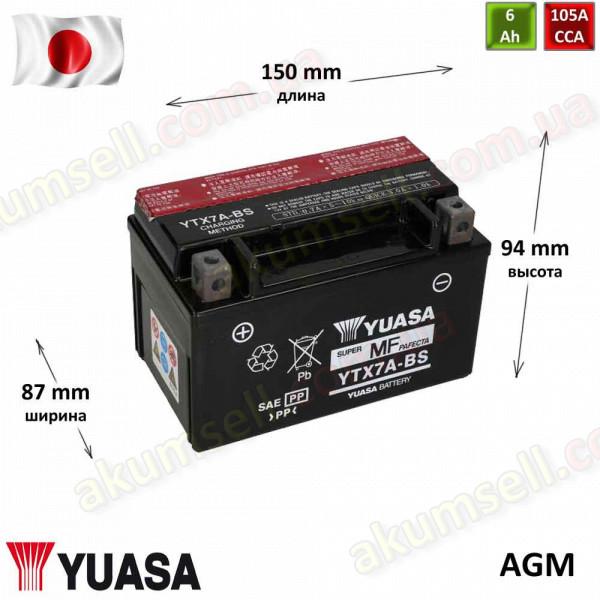 YUASA 6Ah L+ 105A (AGM)